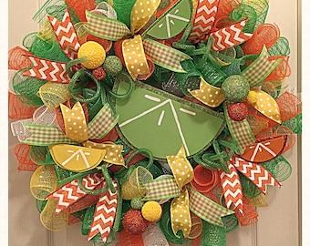 Citrus Sherbet Deco Mesh Wreath/Lime and Orange Wreath/Summer Wreath/Everyday Wreath/Lemon and Lime Wreath