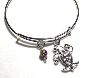 Jester bangle, Mardi Gras, jester jewelry, jester bracelet, clown, jester, jester charm