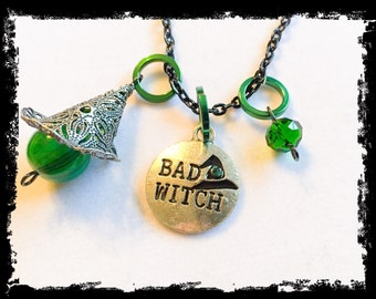 Bad Witch, bad witch necklace, witch, witch jewelry, wicked, wicked witch, wicked jewelry, wicked necklace, wicked charms, bad witch jewelry