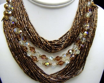 Gorgeous Vintage Torsade Necklace Bronze 48 Strands Seed Beads and 2 Crystals