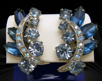 Glitzy Vintage Blue Rhinestone Clip On Earrings Chatons AB Rounds Marquis