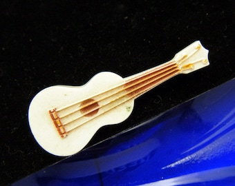 Figural Guitar Pin Molded Plastic Super Cute Vintage