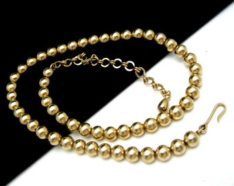 Vintage Gold Tone Bead Necklace Chain Strung