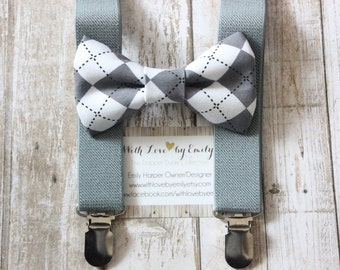 Bowtie & Suspenders- Gray Argyle