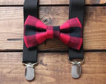 Bowtie & Suspenders- Red/Black Buffalo Plaid