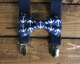 Bowtie & Suspenders- Navy Anchors/Navy