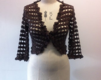 Lovely 1970's vintage chocolate brown crochet bolero/cropped cardigan