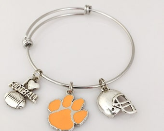 Clemson Tigers Paw Charm Bracelet. Clemson Football Charm Bangle