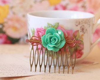 Green rose hair comb with rustic red patina filigree//wedding, rose hair clip, flower hair comb, hair accessories, bridal hair comb, florals