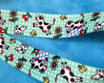 Cows Jump Over the Moon Grosgrain Ribbon - 7/8 inch wide x 5 yards| Nursery Rhyme theme