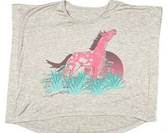 Girl's Horse Shirt, Girl's Shirts, Graphic Tee, Kid's Shirts, Kids Gift, Girls Graphic Tee, Desert Horse Tee by Feather 4 Arrow