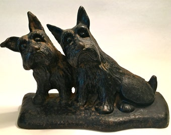 Vintage Cast Iron Twin Scotty Dogs Scottie Dogs Doorstop Bookend Hubley???