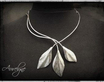 Necklace steel plant Legendary Three Ginkgo Necklace dreamlike fairy elven