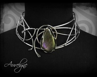 "Stainless steel necklace Diabolique ""Lilith"" purple Labradorite stone victorian and gothic inspiration"