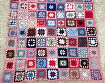 SALE! Was 48- now 28!FABULOUS, crocheted afghan, throw, blanket, hand made, beautiful colors, wool, granny squares, square, hipster, retro