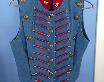 Double D Ranch - amazing denim and  suede, double breasted vest,
