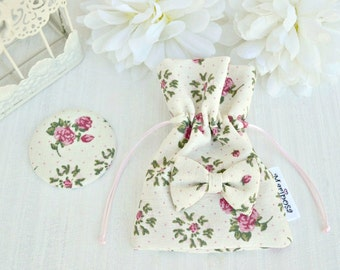 Pocket mirror with pouch covered with cream and pink floral cotton