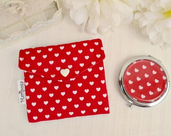 Pocket mirror with red pouch