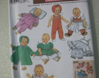 "Simplicity 4707 Clothes for baby dolls  (S-M-L) 12"" to 22"""