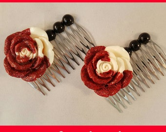 Painted Red Rose Hair Comb