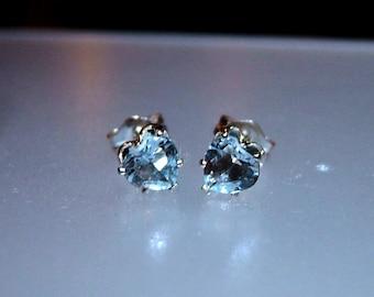 Heart Aquamarine Stud Earrings 0.78ct March Birthstone Studs Natural Gemstone Earrings