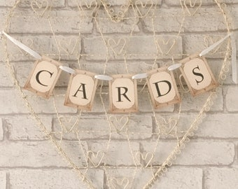 Card Box Garland Bunting for Wedding Sign fancy antique vintage style ribbon
