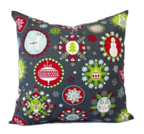 Christmas Pillows Grey Holiday Pillow Cover By