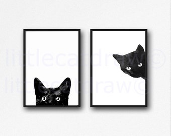 Black Cat Print Set Of 2 Watercolor Prints Cat Art Illustration Cat Lover Gift Black White Minimalist Living Room Decor Wall Art Prints