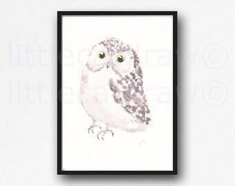 Owl Print Bird Print Soft Little Owl Watercolor Painting Art Print Owl Bird Art Watercolor Art Print Wall Decor Wall Art