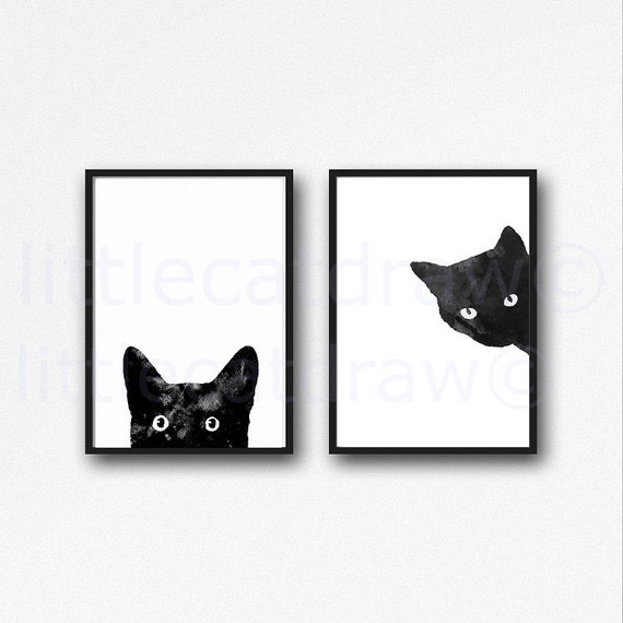 Black Cat Print Set Watercolor Prints Cat Art Illustration Cat Lover Gift Black and White Minimalist Home Decor 2 Art Prints Unframed