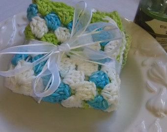 Mode Stripe & Aloe Vera Crochet Granny Square Dishcloths/Washcloths, Kitchen Set of 2