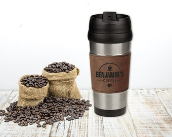 Brown Leatherette and Stainless Steel Personalized Coffee Travel Mug, Custom Engraved Office Gift
