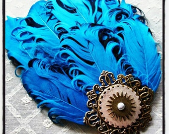 Bronze Gear & Filigree Turquoise Feather Fascinator Hair Clip
