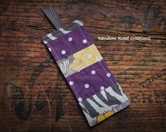 Fabric Bookmark, Plum, Grey, Silver, Yellow