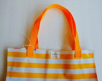 Oil Cloth Market Tote in yellow stripe