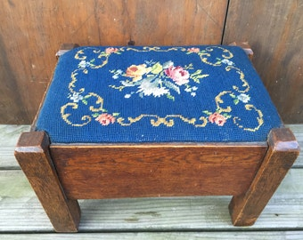 Vintage Needlepoint Stool Blue Background With Floral Design On Solid Wood