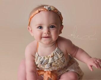 Floral Baby Romper Sitter Set 6-12 months Photography Prop Baby Girl Romper Vintage Tie-Back Infant Romper Set