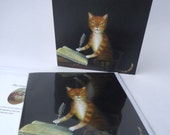 """Single Greetings Card of an original painting: """"The Book Keeper"""""""