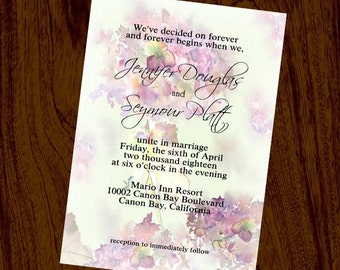 Hydrangea Wedding Invitation & RSVP Card