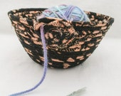 Handmade Fabric Wrapped Clothesline Coiled and Machine Stitched into a Knitting, Crochet, Yarn Bowl, Portable Craft Container (KB944)