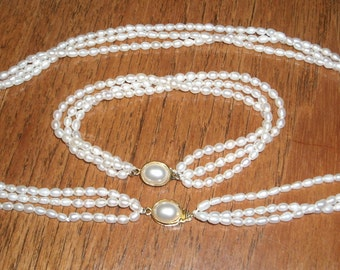 Vintage Triple Strand Rice Pearl Necklace and Bracelet Set