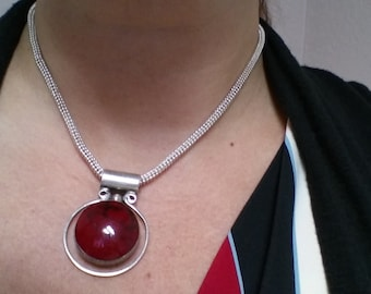 Red and Black Jasper and Sterling Silver Pendant