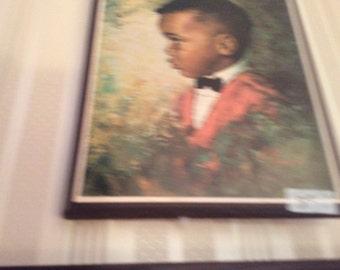 Signed black art boy and girl by M Runci