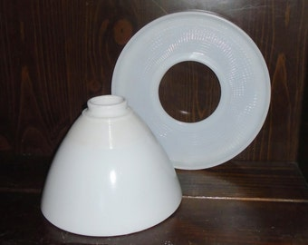 Torchiere Milk Glass Lamp Diffuser & Deflector Shades for Stiffel Rembrandt Lamps
