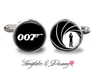 007 - Mens Cuff Links- Cufflinks- James Bond 007- Fathers Day- Birthday- Gifts for Him - UK