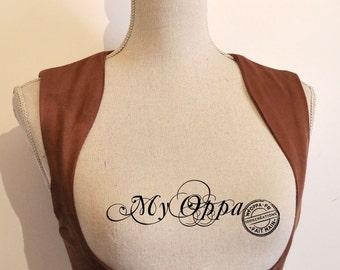 waistcoat short steampunk underbust brown  buckle
