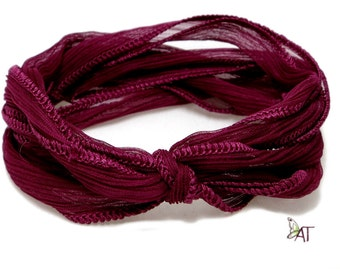 100% Silk Crinkle Ribbon- Hand Dyed - BORDEAUX