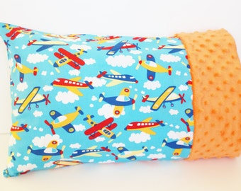 Toddler Airplane Pillowcase for 12 by 16 or 13 by 18 Inch Pillow - Minky Pillowcase - Toddler Boy Gift - Small Pillowcase for Boys - Blue