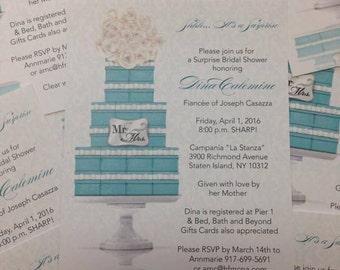 Bridal Shower Invitation Tiffany Save The Date Tiffany Blue Engagement Invitation Tiffany Theme Invitation Tiffany Theme Bridal Shower