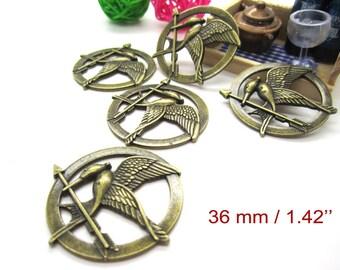 33 pcs bird pendant antique bronze accessories Charms pendant jewelry findings  #1216